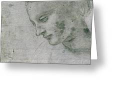 Head Of A Young Woman Or Head Of The Virgin Greeting Card