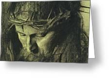 Head Of Christ Greeting Card by Franz Von Stuck