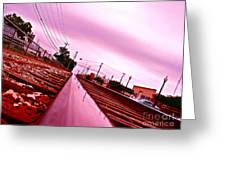 Head On The Tracks Greeting Card
