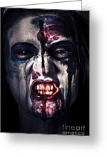 Head Shot On A Pure Evil Zombie Girl Greeting Card