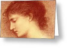 Head Study Of Maria Zambaco The Wine Of Circe Greeting Card