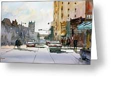Heading West On College Avenue - Appleton Greeting Card by Ryan Radke