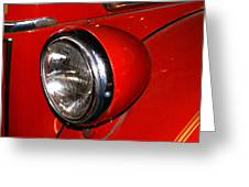 Headlamp On Antique Fire Engine Greeting Card