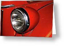 Headlamp On Red Firetruck Greeting Card
