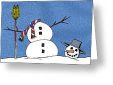 Headless Snowman Greeting Card by Nancy Mueller