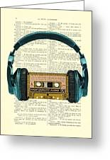 Blue Headphone And Yellow Cassette Collage Print Greeting Card