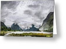 Heads In The Clouds Panorama At Milford Sound Greeting Card