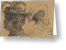 Heads Of A Man And A Woman Greeting Card