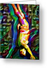 Headstand Naked Unconventional Figure Portrait Painting Bright Colorful Gymnastics Old Man Nude Male Men Athletic Stomach Fat Feet Head Hands Rainbow Greeting Card