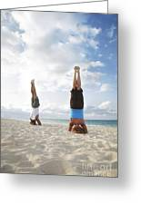 Headstand On Beach Greeting Card