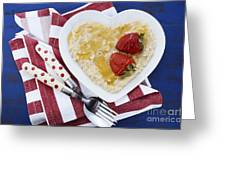 Healthy Breakfast Oats On Heart Shape Plate Greeting Card