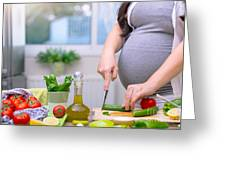 Healthy Nutrition For Pregnant Woman Greeting Card