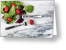 Healthy Organic Salad Flowing Out Of Plate On Natural Marble Tab Greeting Card