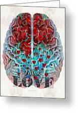 Heart Art - Think Love - By Sharon Cummings Greeting Card
