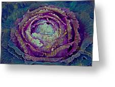 Heart Of Mystery In Magenta And Green Greeting Card