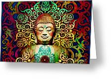 Heart Of Transcendence - Colorful Tribal Buddha Greeting Card by Christopher Beikmann