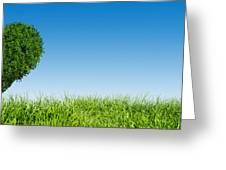 Heart Shape Tree On Green Grass Field Greeting Card