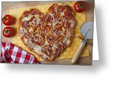 Heart Shaped Pizza Greeting Card