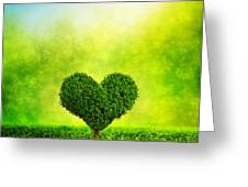 Heart Shaped Tree Growing On Green Grass Greeting Card