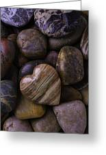 Heart Stone On River Rocks Greeting Card