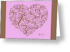 Heart With Pink Flowers And Swirls Greeting Card