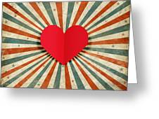 Heart With Ray Background Greeting Card