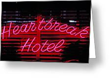 Heartbreak Hotel Neon Greeting Card by Garry Gay
