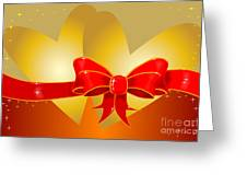 Hearts And Bow Greeting Card