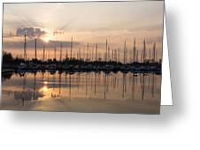Heavenly Sunrays - Peaches-and-cream Sunrise With Boats Greeting Card