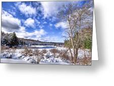 Heavy Snow At The Green Bridge Greeting Card