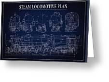 Heavy Steam Locomotive Blueprint Greeting Card