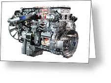 Heavy Truck Diesel Engine Isolated Greeting Card