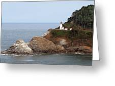Heceta Head Lighthouse - Oregon's Scenic Pacific Coast Viewpoint Greeting Card by Christine Till