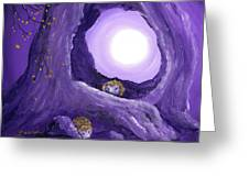 Hedgehogs In Purple Moonlight Greeting Card