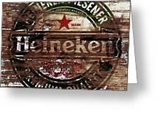 Heineken Beer Wood Sign 1a Greeting Card