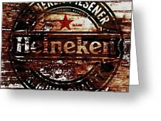 Heineken Beer Wood Sign 1j Greeting Card