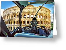 Helicopter On Colosseo Greeting Card