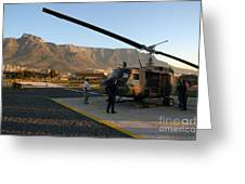 Helicopter Tours Of Cape Town And Table Mountain Greeting Card by Andy Smy