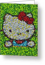 Hello Kitty Mm Candy Mosaic Greeting Card