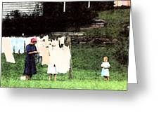 Helpin Momma..amish Wash Day Greeting Card
