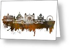 Helsinki Skyline City Brown Greeting Card