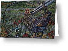 Hen And Plow Wheel Greeting Card