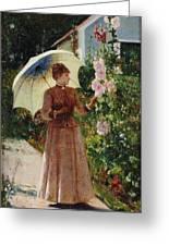 Henri Emile De Sachy France 19th Century Elegant Young Lady In The Garden Walk At Hollyhocks Greeting Card