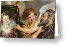 Henri Iv Receiving The Portrait Of Marie De Medici Greeting Card by Rubens