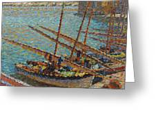 Henri Martin 1860 - 1943 Boats To Collioure Greeting Card