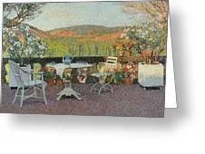Henri Martin 1860 - 1943 Tea Time On The Terrace Marquayrol Greeting Card