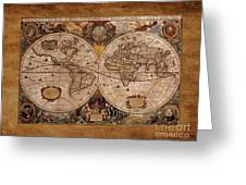 Henry Hondius Seventeenth Century World Map Greeting Card by Skye Ryan-Evans