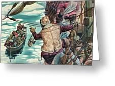 Henry Hudson Being Set Adrift Greeting Card