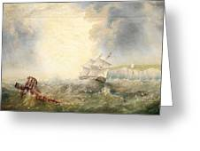 Henry Redmore Running Up The Coast In Heavy Seas, 1856 Greeting Card
