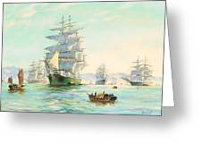 Tranquil Morning - Foochow, The Famous Clipper Thermopylae At Anchor Greeting Card